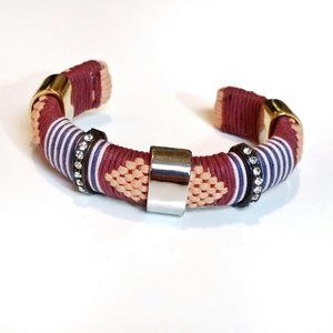 J. Crew Woven Tribal Crystal Silver & Gold Bangle